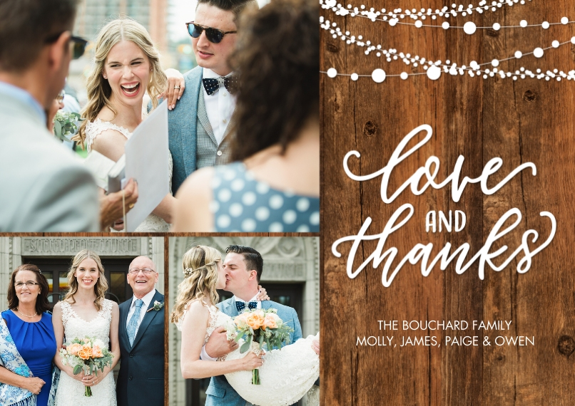 Wedding Thank You 5x7 Cards, Premium Cardstock 120lb with Scalloped Corners, Card & Stationery -Thank You Lights