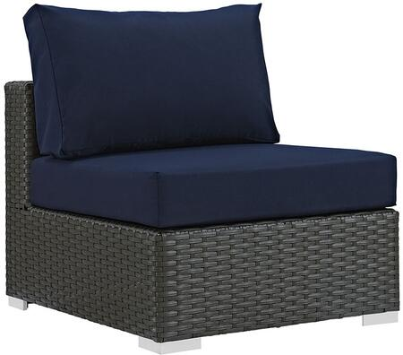 Sojourn Collection EEI-1854-CHC-NAV Outdoor Patio Armless Chair with Synthetic Rattan Weave Material  Powder Coated Aluminum Frame and Sunbrella