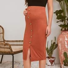 Maternity Buttoned Front Split Hem Pencil Skirt