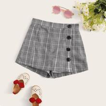 Girls Button Front Plaid Skort