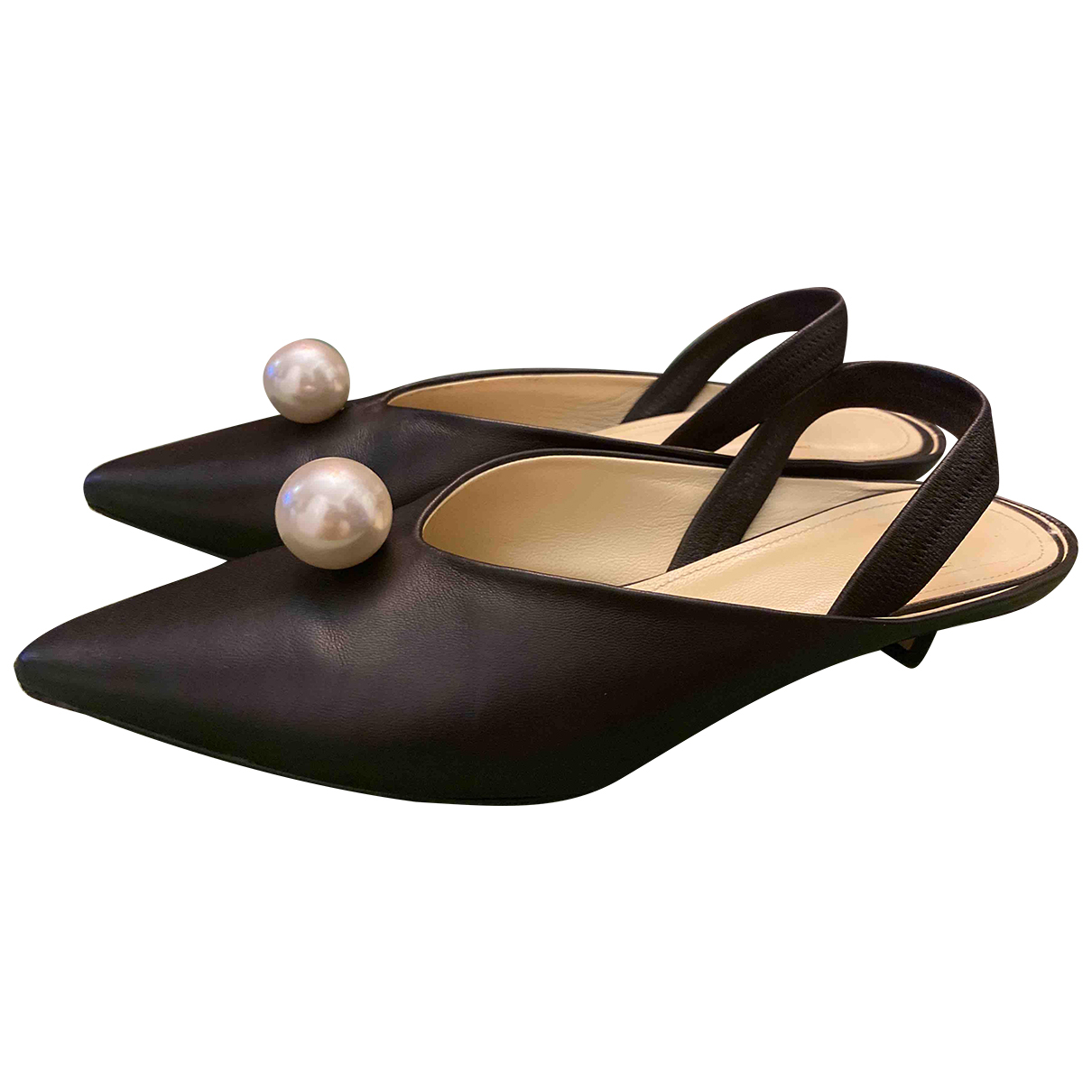Non Signé / Unsigned N Black Leather Heels for Women 37 IT