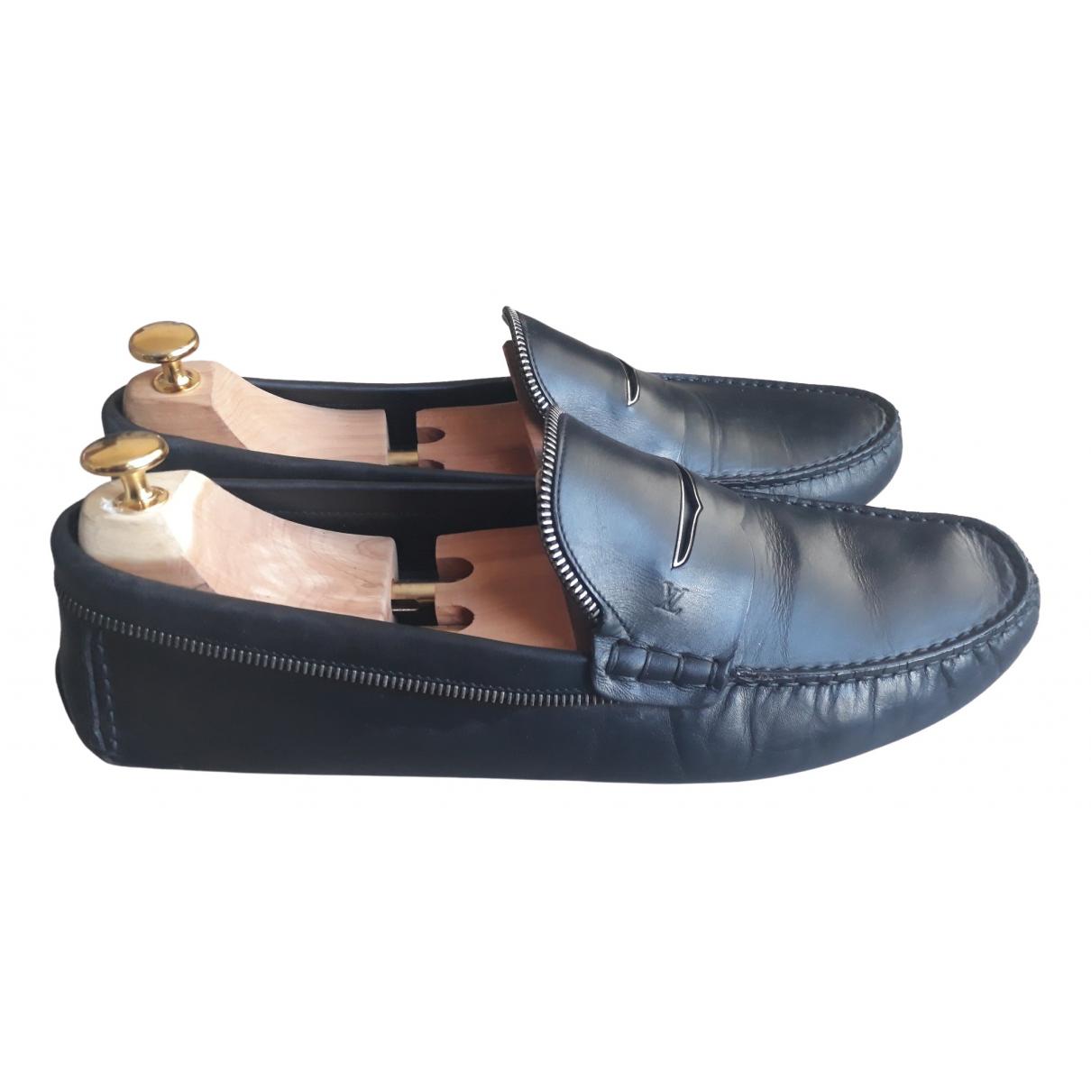 Louis Vuitton \N Black Leather Flats for Men 46 EU
