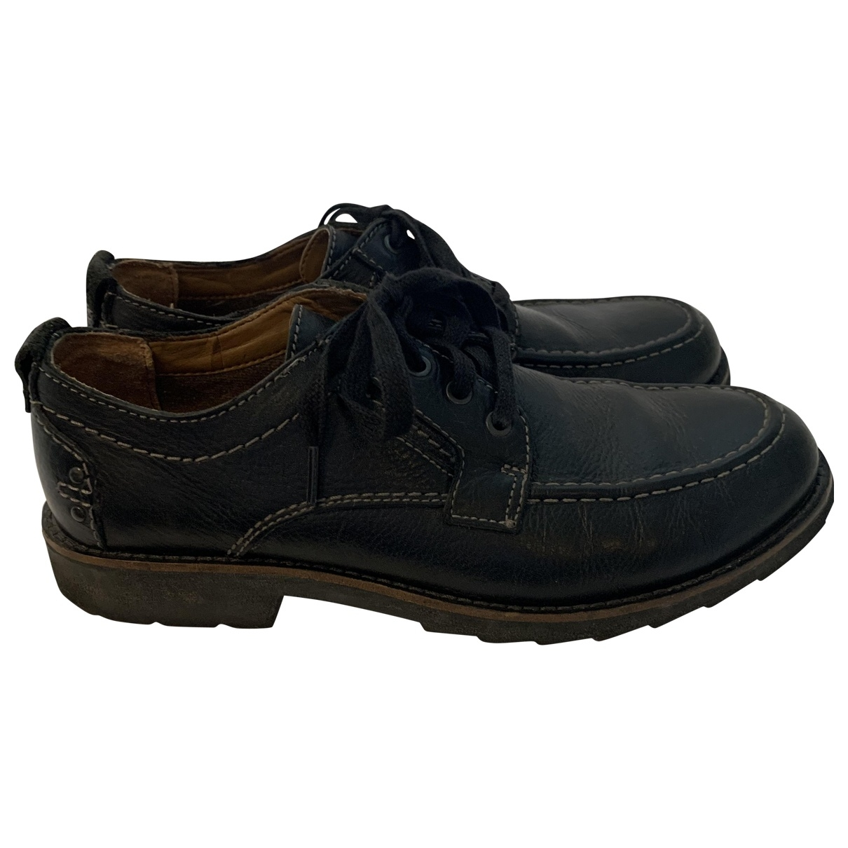 Clarks \N Navy Leather Flats for Men 9.5 UK
