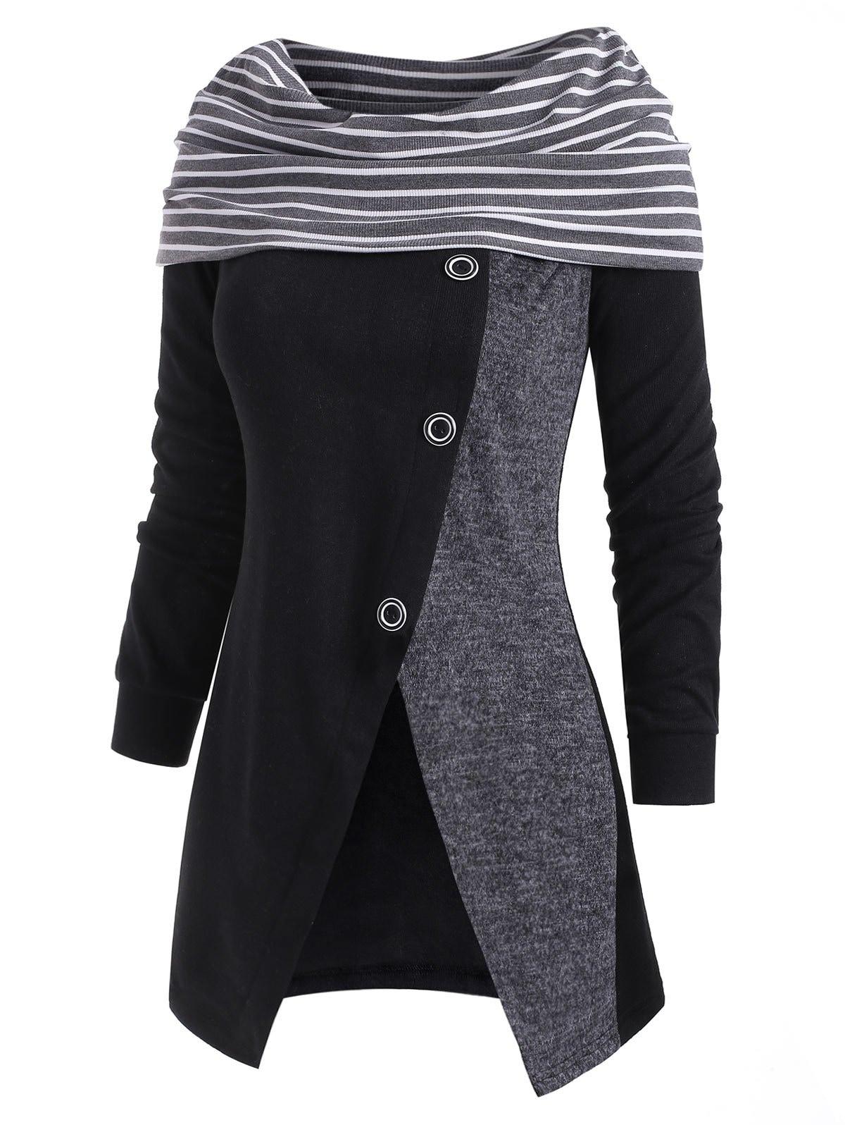 Striped Button Embellished Cowl Neck Slit Knitwear