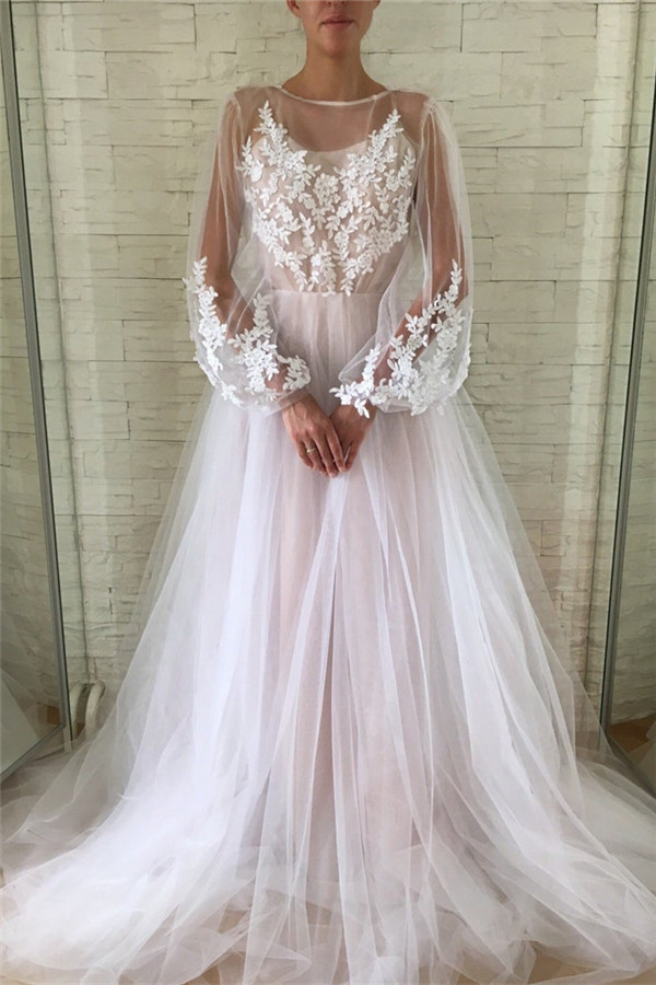 Chic See Through Tulle Lace Appliques Evening Gowns | Stylish Bubble Sleeves Long Prom Dresses