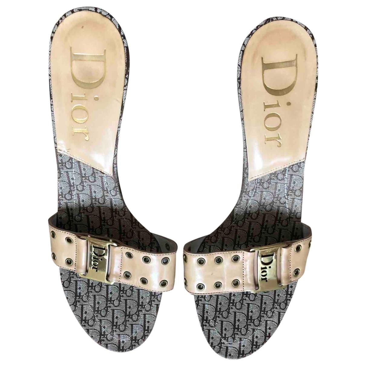 Dior - Sandales   pour femme en cuir - camel