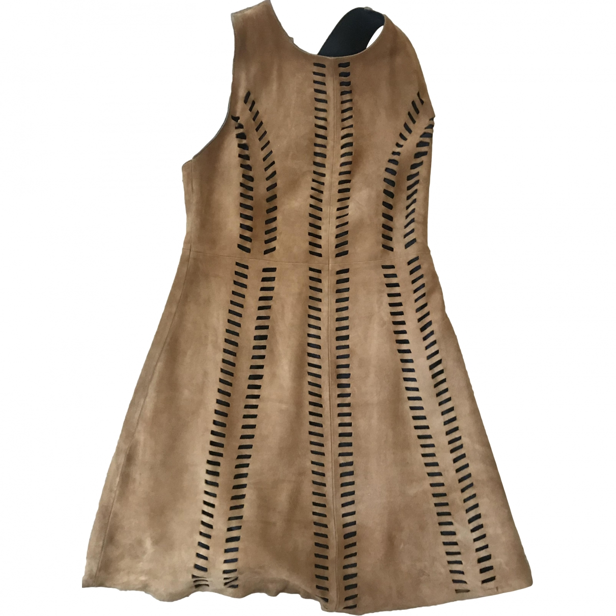 Maje \N Camel Leather dress for Women 2