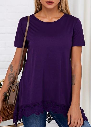 Short Sleeve Round Neck Lace Hem T Shirt - L