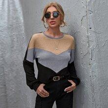 Strick Crop T-Shirt mit sehr tief angesetzter Schulterpartie