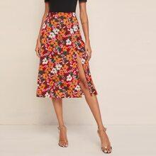 Falda floral de muslo con abertura con diseño de cremallera