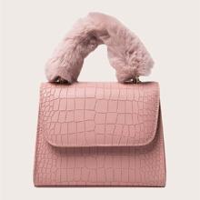 Faux Fur Decor Croc Embossed Satchel Bag