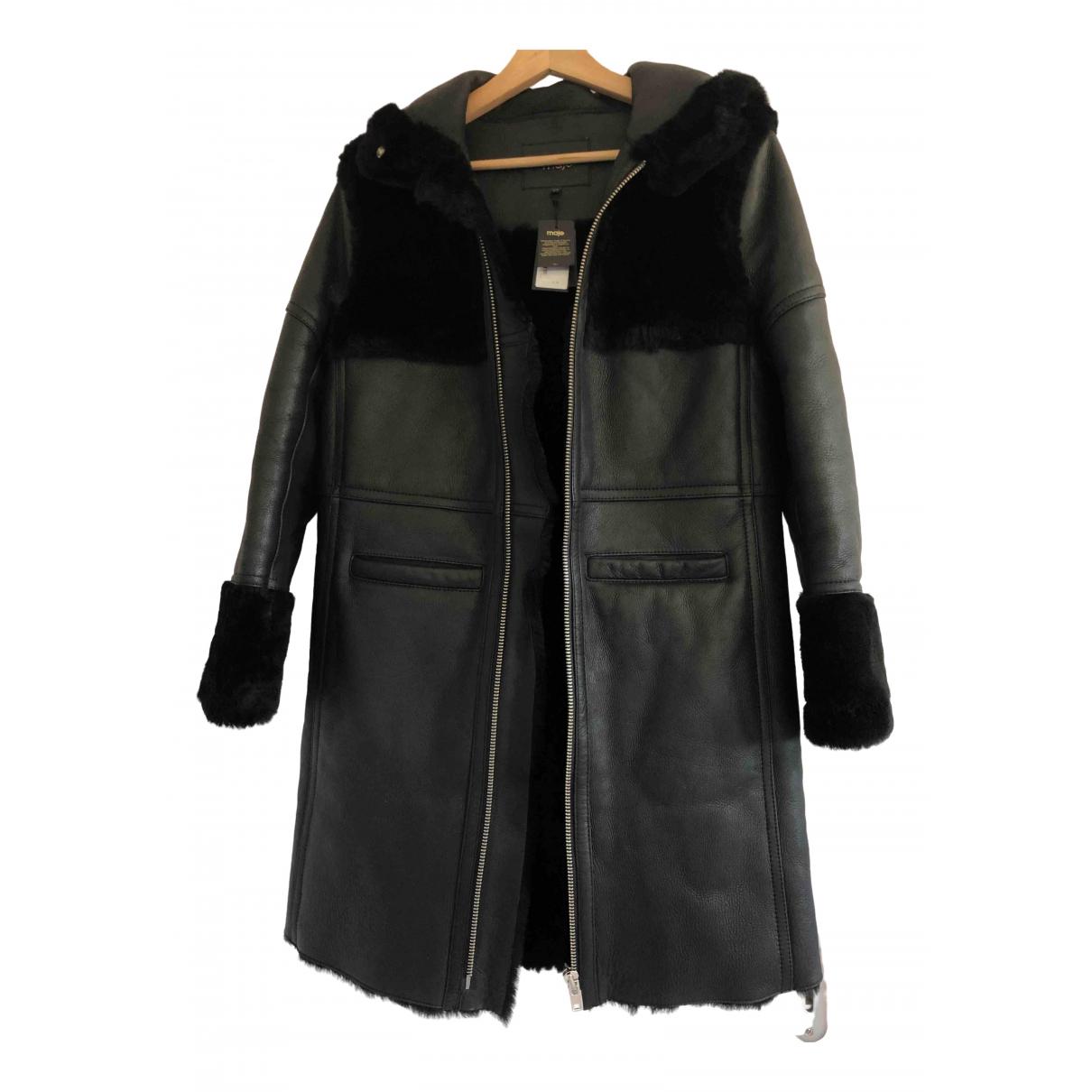 Maje Fall Winter 2019 Black Mongolian Lamb coat for Women 36 FR
