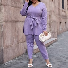 Plus Drop Shoulder Split Hem Belted Sweater & Pants Set