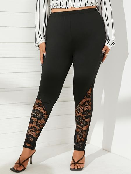 YOINS Plus Size Black Lace Pants