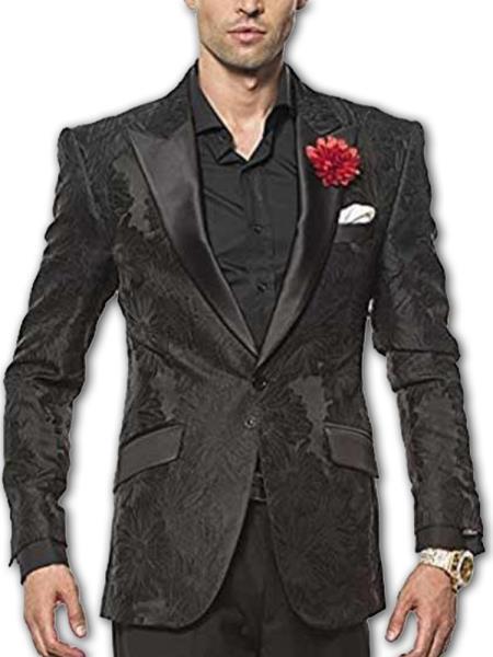 Men's Black Satin Peak Lapel Two Button Fully Lined Fashion Sport Coat