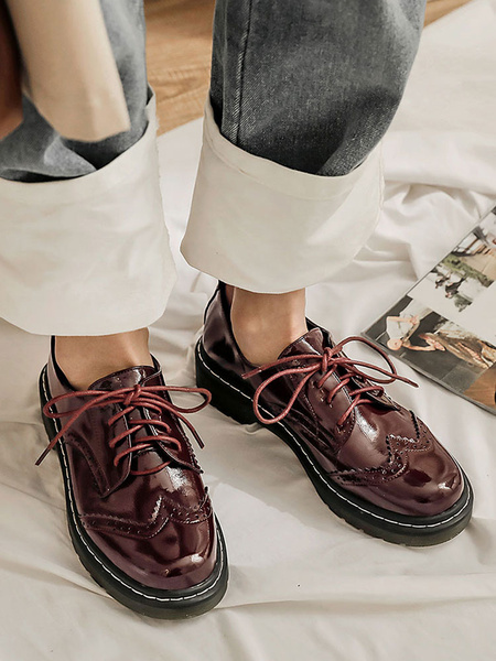 Milanoo Women\'s Stylish Oxfords Round Toe Academic Flatform Shoes