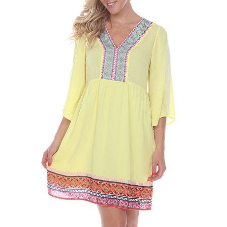 White Mark Gabrielle 3/4 Sleeve Bordered Sheath Dress, Medium , Yellow