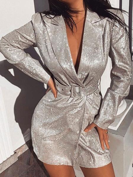 Milanoo Bodycon Dresses Silver Long Sleeves Sequins Sexy Turndown Collar Sheath Dress Sheath Dress