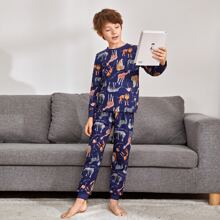 Boys Slogan and Animal Print Top & Pants PJ Set