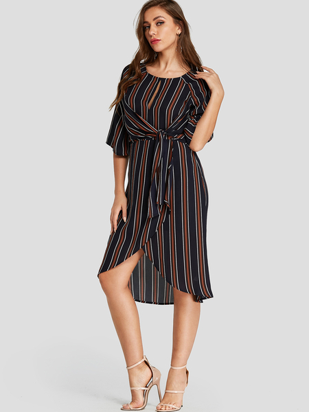 Yoins Navy Stripe Cut Out Crossed Front Dress with Belt