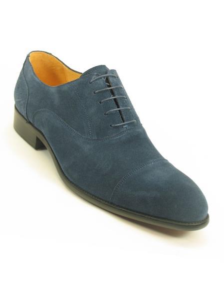 Men's Fashionable Cap Toe Denim Laceup Style Suede Shoes