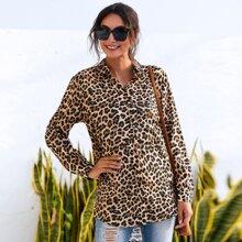 Knopfe  Leopardenmuster  Laessig Blusen