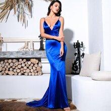 Ruched Backless Floor Length Satin Slip Dress