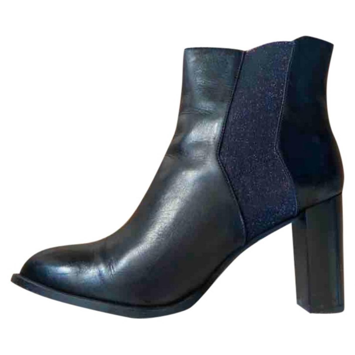 Mellow Yellow - Boots   pour femme en cuir - bleu