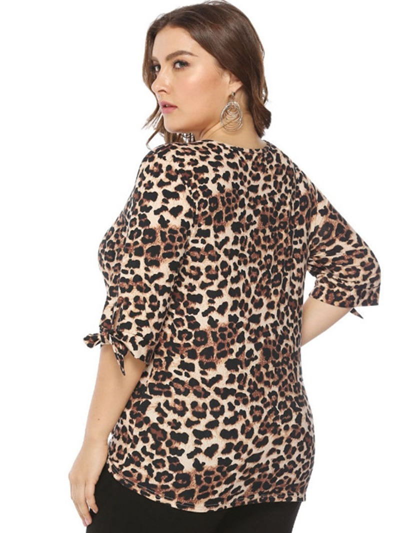 Ericdress Leopard Asymmetric V-Neck Plus Size T-Shirt