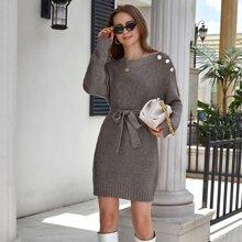 Drop Shoulder Button Detail Belted Sweater Dress