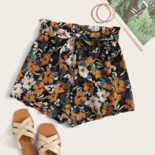 Belted Paperbag Waist Floral Print Shorts