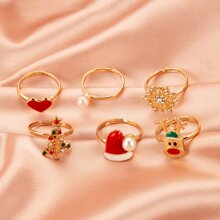 6pcs Christmas Tree Decor Ring