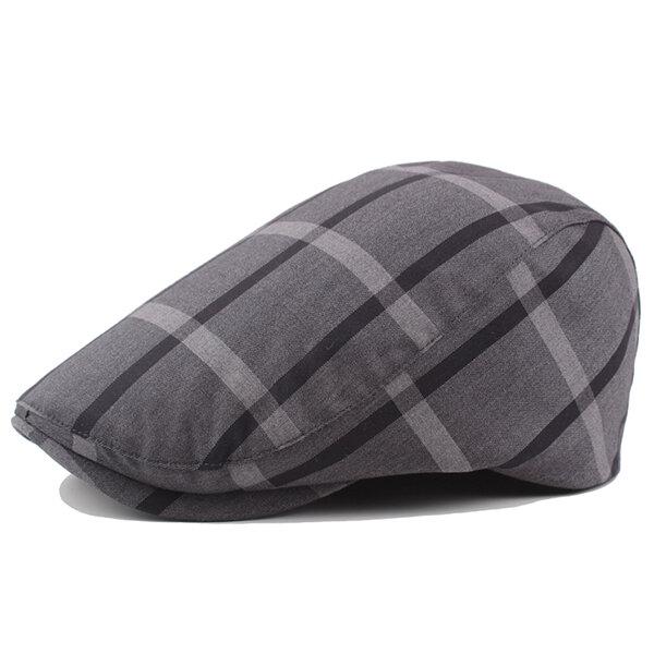 Men's Cotton Lattice Beret Caps Newsboy Buckle Adjustable Casual Outdoors Peaked Hat