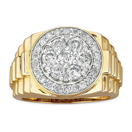 Men's 2 CT. T.W. Genuine Diamond Cluster Ring in 10K Gold, 10 , No Color Family