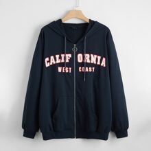 Plus Letter Graphic Drop Shoulder O-ring Zip Up Hoodie