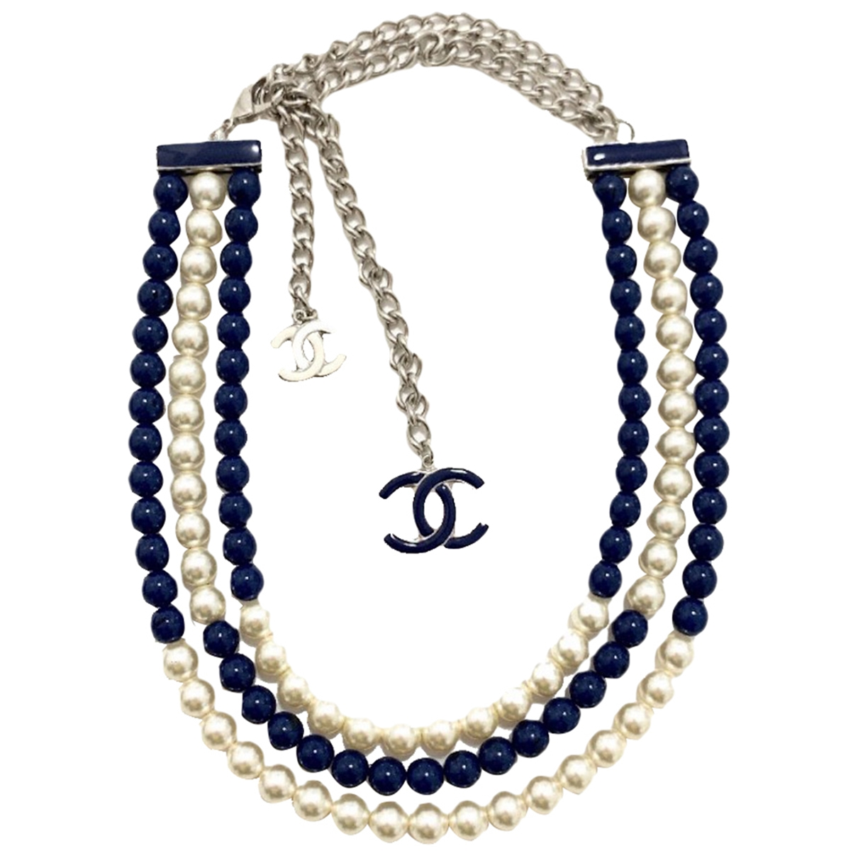 Chanel \N Halskette in  Blau Perlen