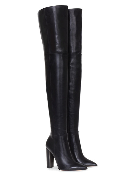 Milanoo Thigh High Boots Womens PU Solid Color Pointed Toe Chunky Heel Over The Knee Boots