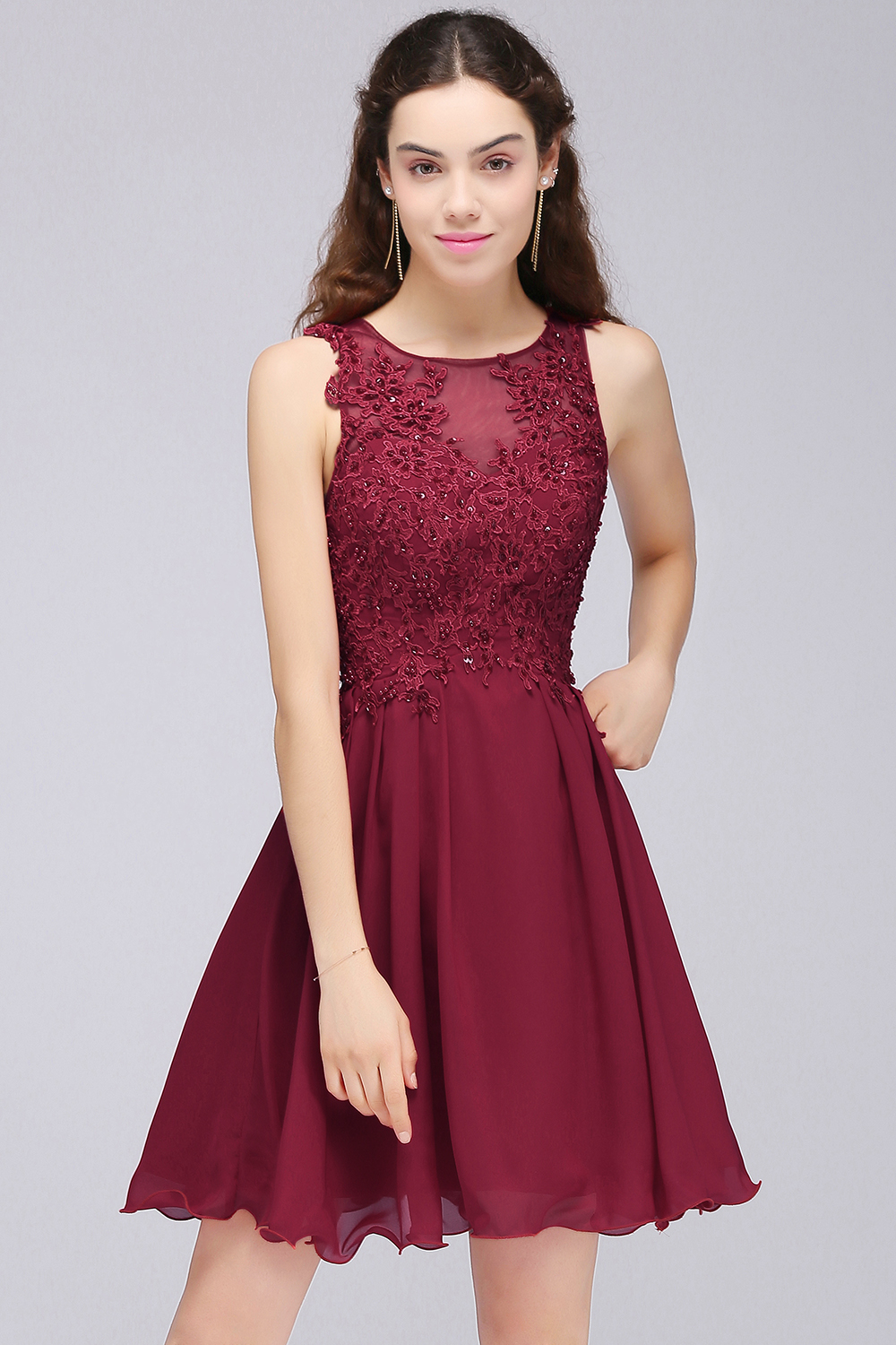BMbridal Lovely Lace Short Burgundy Bridesmaid Dress with Appliques