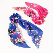 2 Stuecke Scrunchie Schal mit Blumen Muster