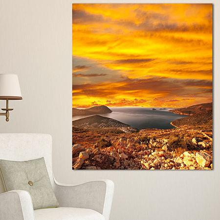 Designart Beautiful Landscape Under Yellow Sky Landscape Canvas Art Print, One Size , Yellow