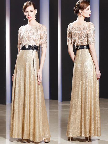 Milanoo Evening Dresses Sequin Champagne Sash Short Sleeve Floor Length Formal Gowns
