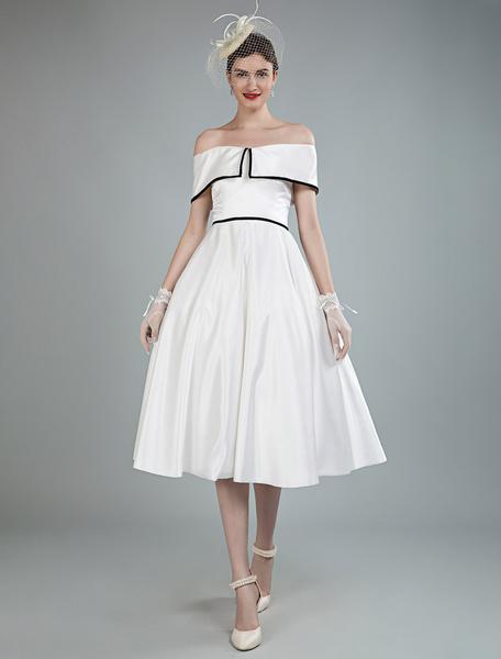 Milanoo Vintage Wedding Dresses Satin Off The Shoulder A Line Tea Length Short Bridal Gowns