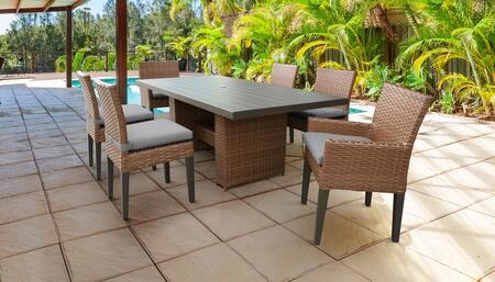 Laguna Collection LAGUNA-DTREC-KIT-4ADC2DCC-GREY Patio Dining Set With 1 Table  4 Side Chairs  2 Arm Chairs - Wheat and Grey