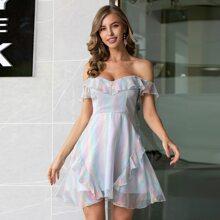 Double Crazy Flounce Off Shoulder Holographic Chiffon Dress