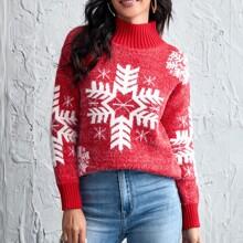 Flaumiger Pullover mit Stehkragen und Weihnachten Muster