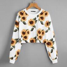 Crop Pullover mit sehr tief angesetzter Schulterpartie und Sonnenblumen Muster