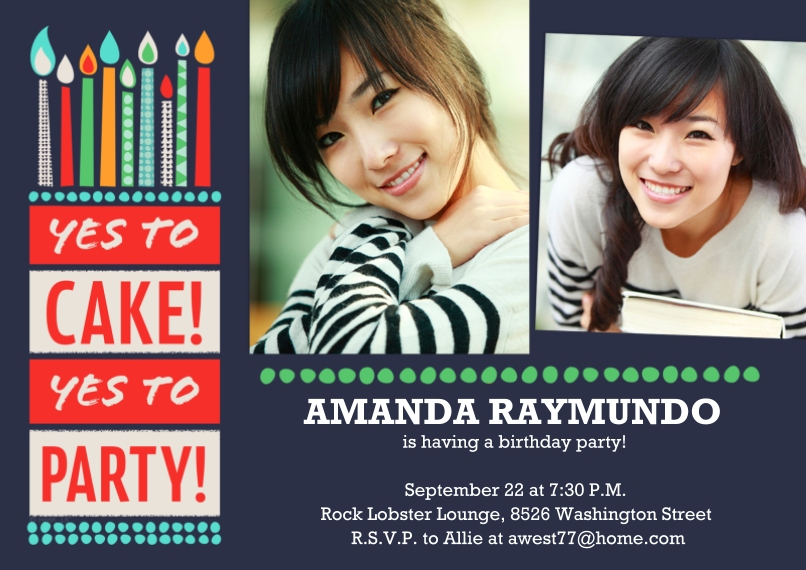 Birthday Party Invites 5x7 Cards, Premium Cardstock 120lb with Rounded Corners, Card & Stationery -Yes to Cake! Yes to Party!