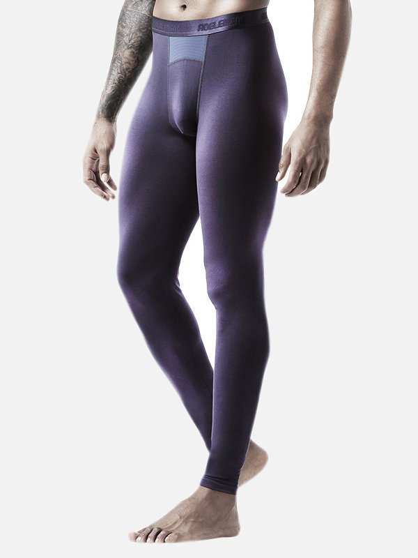 Men Thin Pure Color Thermal Pants Slimming Patchwork Mesh Breathable Seamless Long Johns Sleepwear