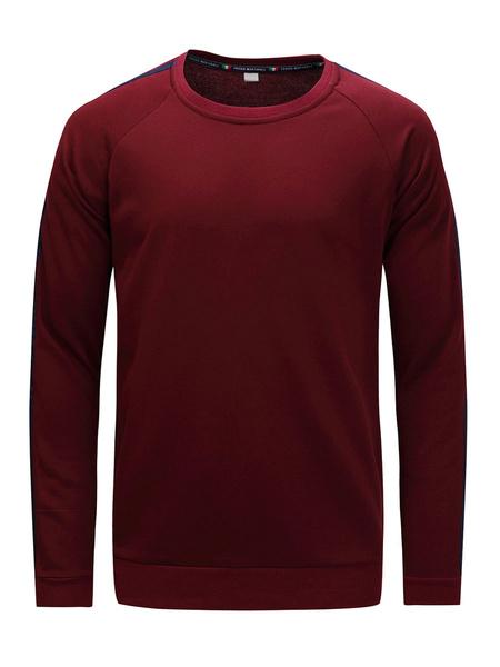 Milanoo Men\'s Pullover French Terry Sweatshirt In Burgundy