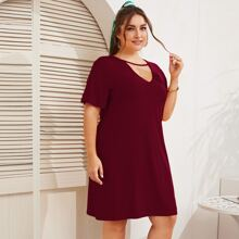 Plus Cut Out Front Tee Dress